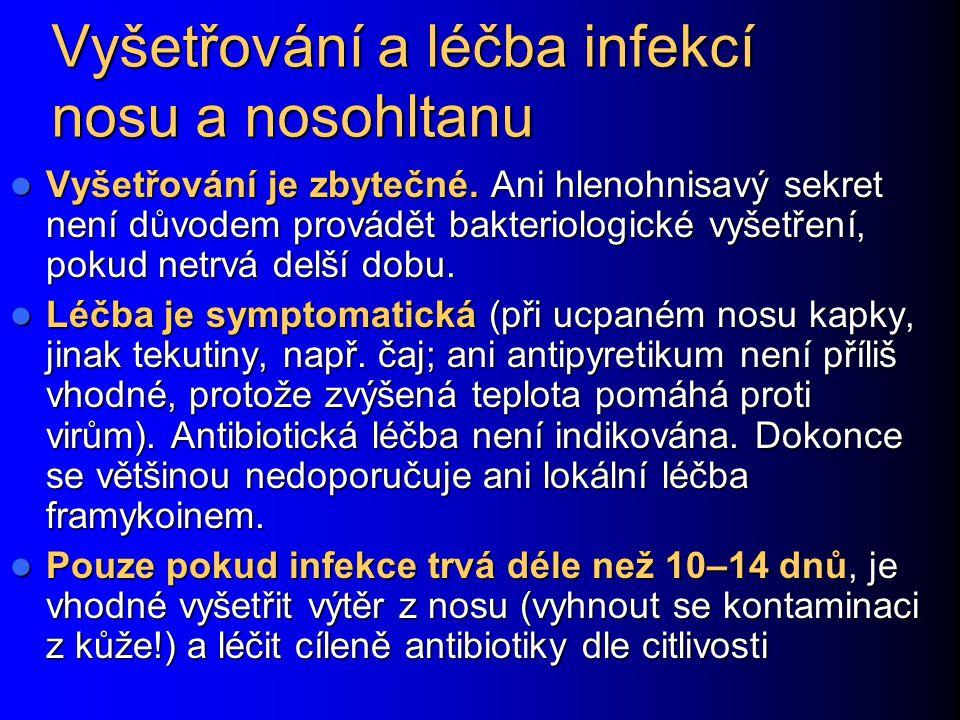 Vyšetřování a léčba infekcí nosu a nosohltanu Vyšetřování je zbytečné. Ani hlenohnisavý sekret není důvodem provádět bakteriologické vyšetření, pokud