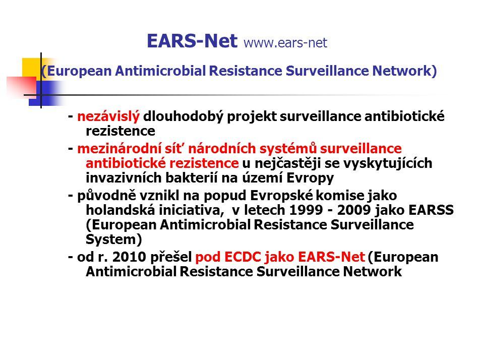 EARS-Net www.ears-net (European Antimicrobial Resistance Surveillance Network) - nezávislý dlouhodobý projekt surveillance antibiotické rezistence - mezinárodní síť národních systémů surveillance antibiotické rezistence u nejčastěji se vyskytujících invazivních bakterií na území Evropy - původně vznikl na popud Evropské komise jako holandská iniciativa, v letech 1999 - 2009 jako EARSS (European Antimicrobial Resistance Surveillance System) - od r.