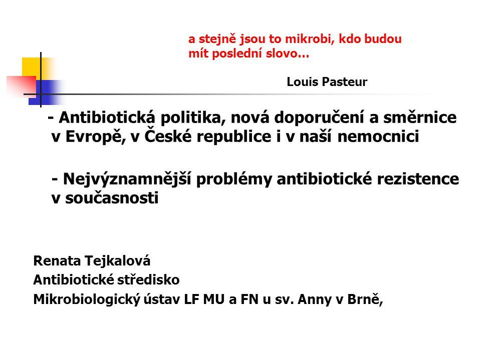 - Antibiotická politika, nová doporučení a směrnice v Evropě, v České republice i v naší nemocnici - Nejvýznamnější problémy antibiotické rezistence v současnosti Renata Tejkalová Antibiotické středisko Mikrobiologický ústav LF MU a FN u sv.