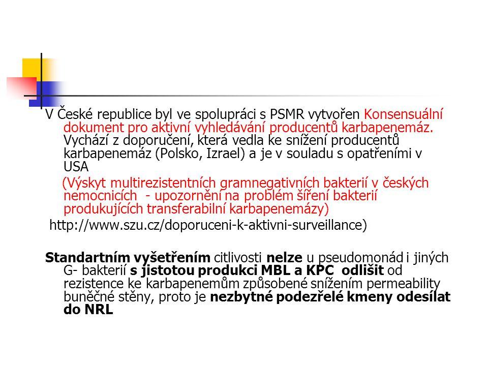 V České republice byl ve spolupráci s PSMR vytvořen Konsensuální dokument pro aktivní vyhledávání producentů karbapenemáz.