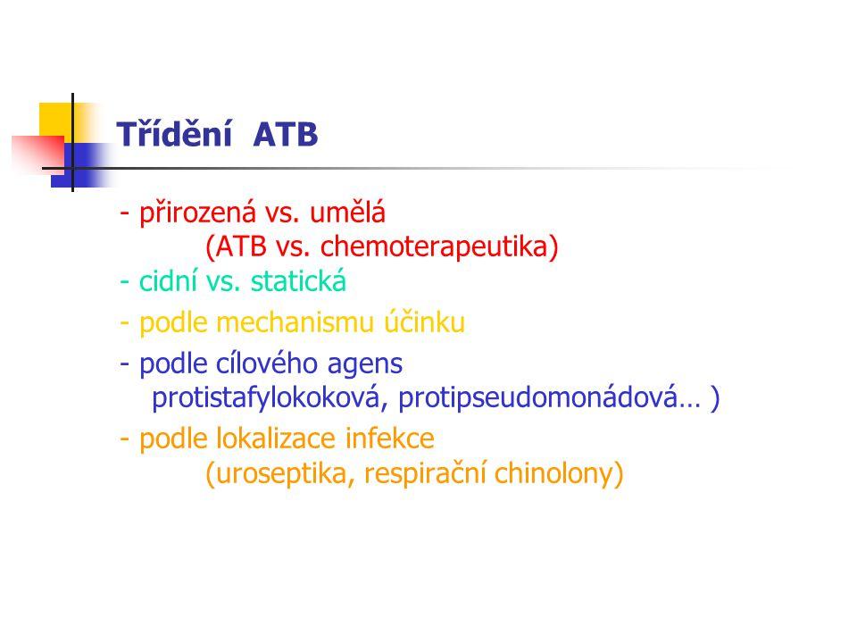 Třídění ATB - přirozená vs.umělá (ATB vs. chemoterapeutika) - cidní vs.