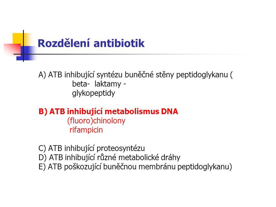Rozdělení antibiotik A) ATB inhibující syntézu buněčné stěny peptidoglykanu ( beta- laktamy - glykopeptidy B) ATB inhibující metabolismus DNA (fluoro)chinolony rifampicin C) ATB inhibující proteosyntézu D) ATB inhibující různé metabolické dráhy E) ATB poškozující buněčnou membránu peptidoglykanu)
