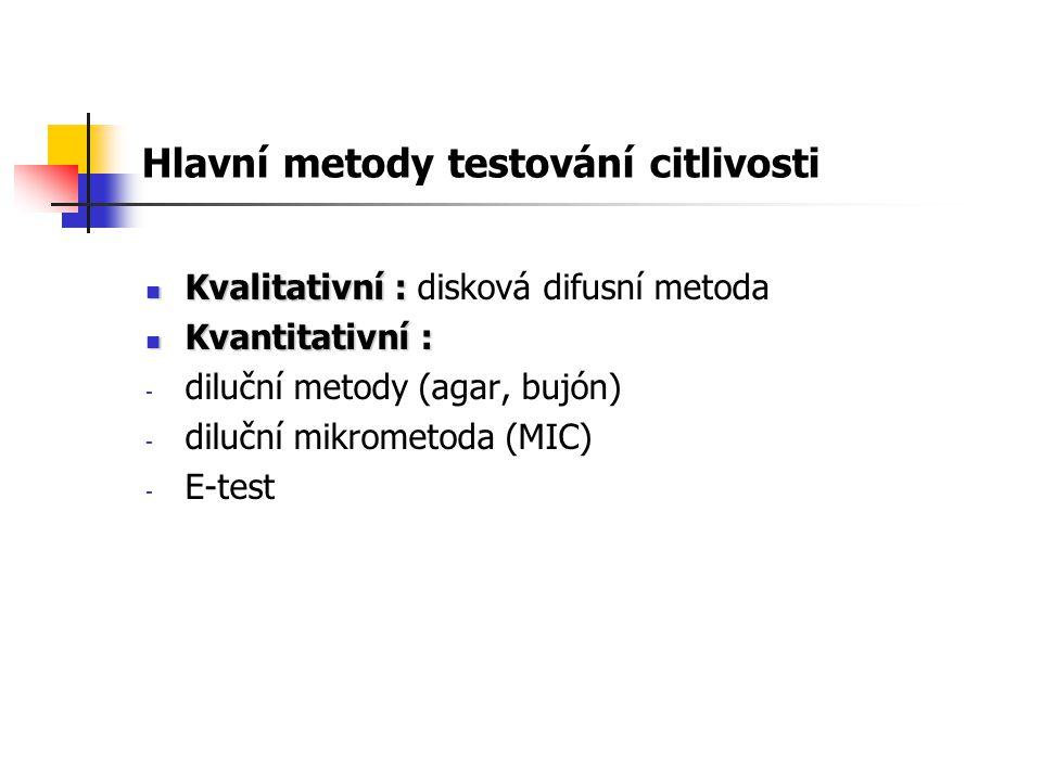Hlavní metody testování citlivosti Kvalitativní : Kvalitativní : disková difusní metoda Kvantitativní : Kvantitativní : - diluční metody (agar, bujón) - diluční mikrometoda (MIC) - E-test