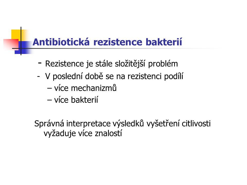 Antibiotická rezistence bakterií - Rezistence je stále složitější problém - V poslední době se na rezistenci podílí – více mechanizmů – více bakterií Správná interpretace výsledků vyšetření citlivosti vyžaduje více znalostí