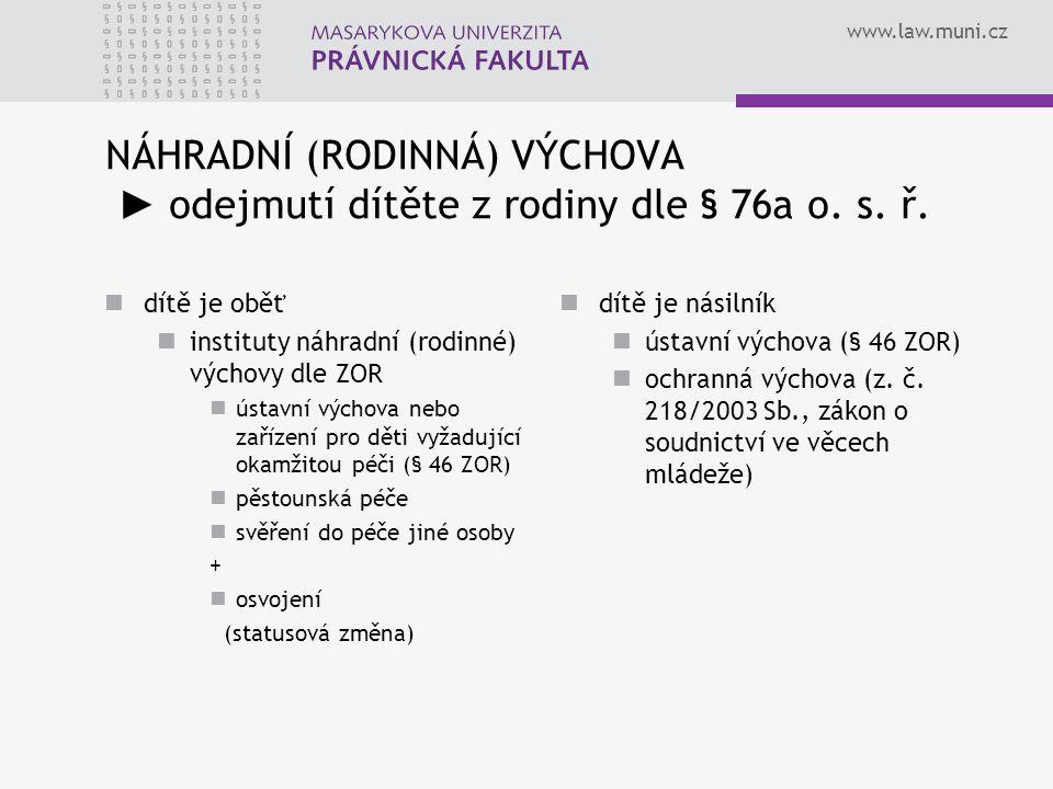 www.law.muni.cz NÁHRADNÍ (RODINNÁ) VÝCHOVA ► odejmutí dítěte z rodiny dle § 76a o. s. ř. dítě je oběť instituty náhradní (rodinné) výchovy dle ZOR úst