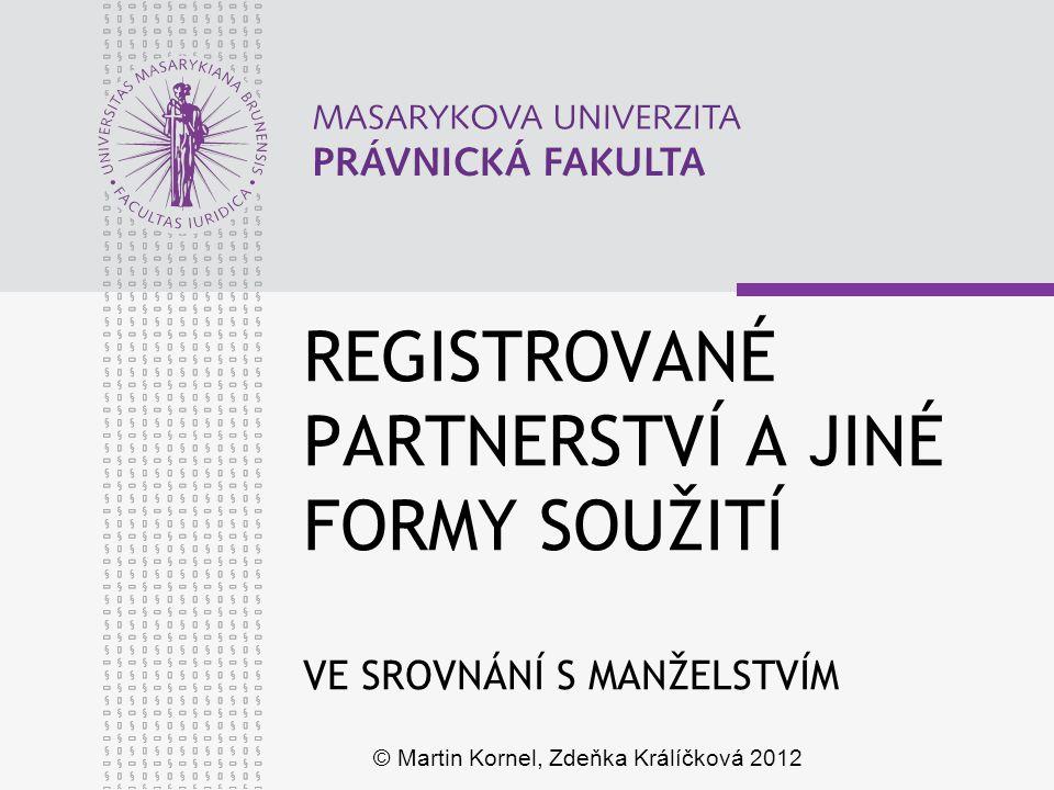 www.law.muni.cz VADY ÚKONU Manželství (§ 15a ZOR) bezprávná výhrůžka omyl týkající se úkonu omyl týkající se jednoho ze snoubenců Registrované partnerství (§ 4, 5, 6 ZRP) nedostatek svobodného a úplného projevu vůle omyl týkající se úkonu nepravdivé údaje Nezezdané soužití - 12