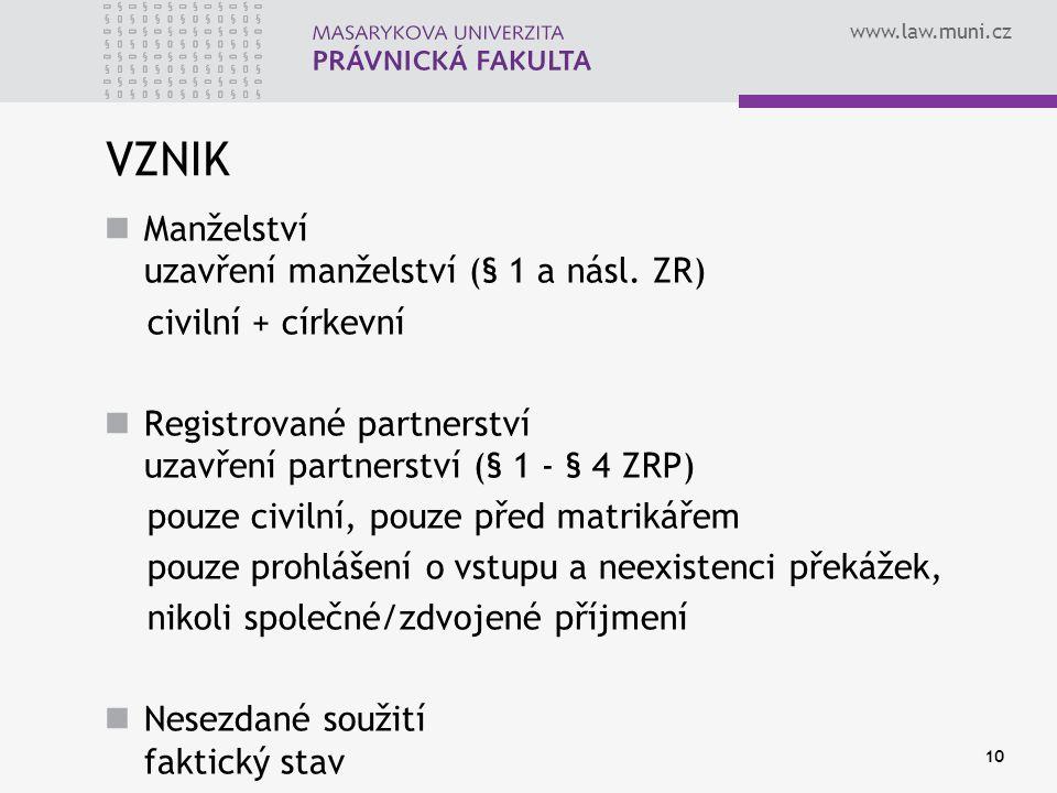 www.law.muni.cz VZNIK Manželství uzavření manželství (§ 1 a násl. ZR) civilní + církevní Registrované partnerství uzavření partnerství (§ 1 - § 4 ZRP)