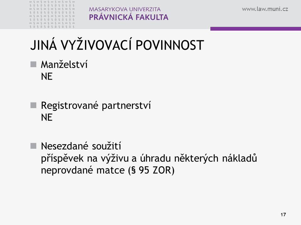 www.law.muni.cz 17 JINÁ VYŽIVOVACÍ POVINNOST Manželství NE Registrované partnerství NE Nesezdané soužití příspěvek na výživu a úhradu některých náklad