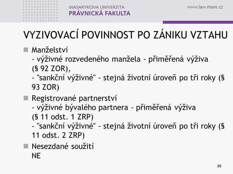 www.law.muni.cz 30 VYZIVOVACÍ POVINNOST PO ZÁNIKU VZTAHU Manželství - výživné rozvedeného manžela - přiměřená výživa (§ 92 ZOR), -