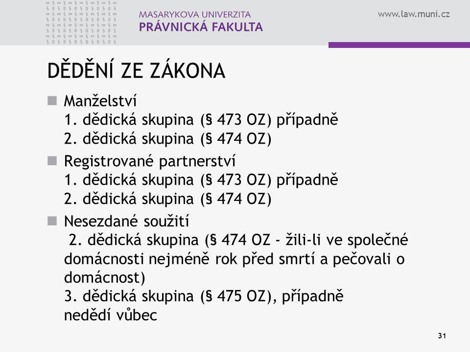 www.law.muni.cz 31 DĚDĚNÍ ZE ZÁKONA Manželství 1. dědická skupina (§ 473 OZ) případně 2. dědická skupina (§ 474 OZ) Registrované partnerství 1. dědick