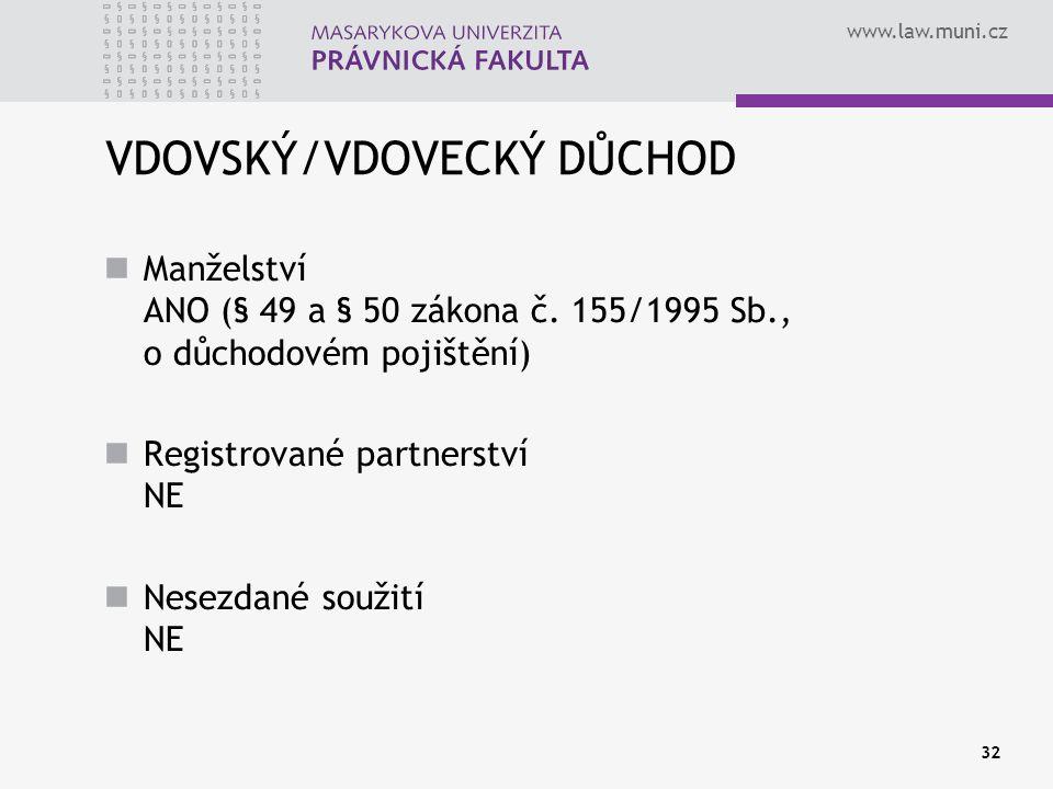 www.law.muni.cz 32 VDOVSKÝ/VDOVECKÝ DŮCHOD Manželství ANO (§ 49 a § 50 zákona č. 155/1995 Sb., o důchodovém pojištění) Registrované partnerství NE Nes