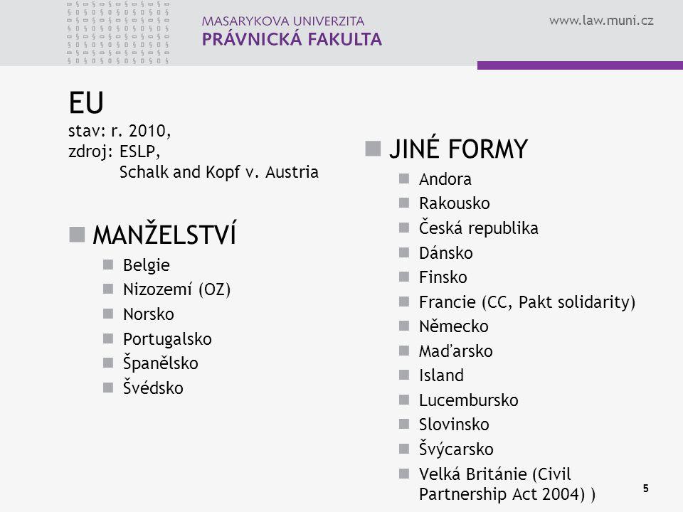 www.law.muni.cz MANŽELSTVÍ Belgie Nizozemí (OZ) Norsko Portugalsko Španělsko Švédsko JINÉ FORMY Andora Rakousko Česká republika Dánsko Finsko Francie