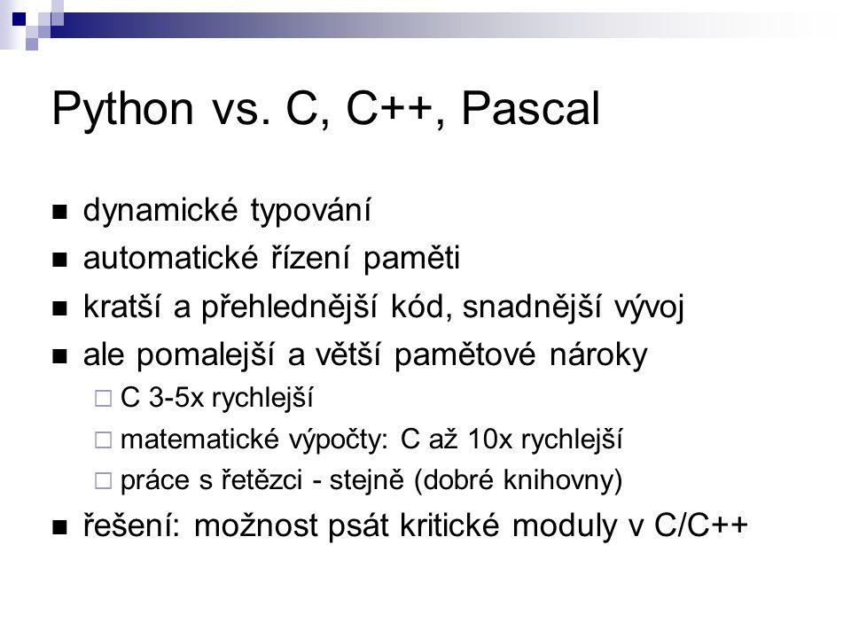 Python vs. C, C++, Pascal dynamické typování automatické řízení paměti kratší a přehlednější kód, snadnější vývoj ale pomalejší a větší pamětové nárok