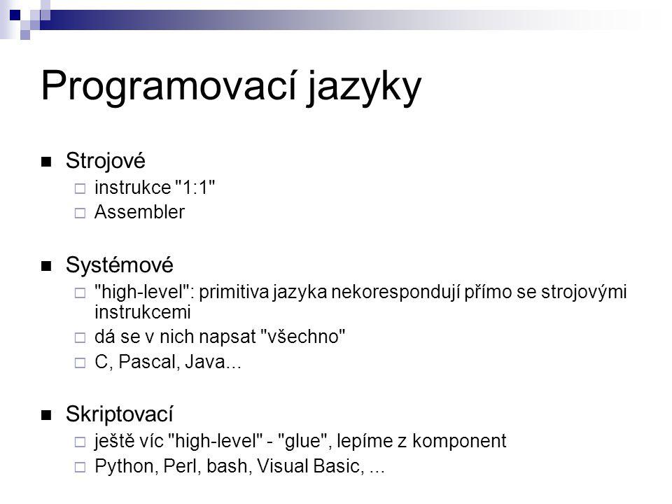 Programovací jazyky Strojové  instrukce