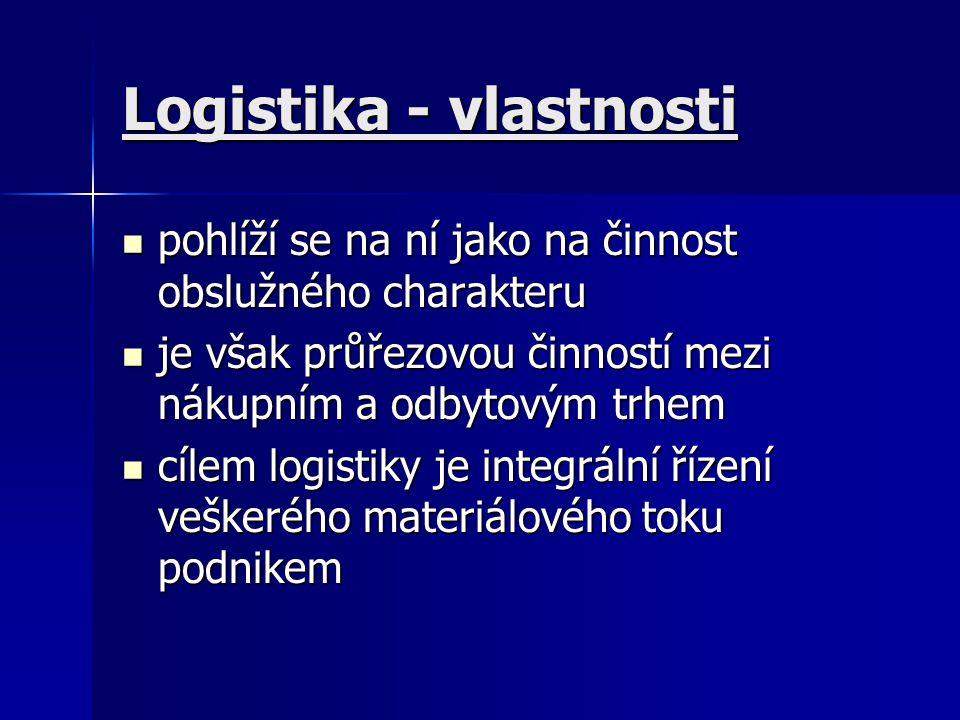 Logistika - vlastnosti pohlíží se na ní jako na činnost obslužného charakteru pohlíží se na ní jako na činnost obslužného charakteru je však průřezovo