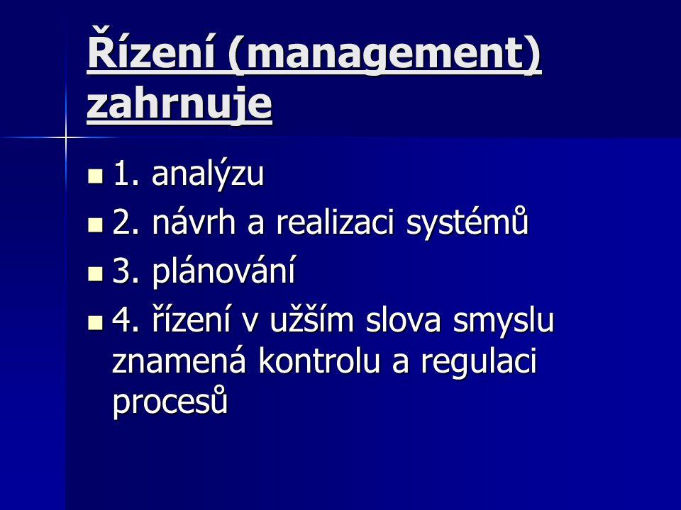 Řízení (management) zahrnuje 1. analýzu 1. analýzu 2. návrh a realizaci systémů 2. návrh a realizaci systémů 3. plánování 3. plánování 4. řízení v užš