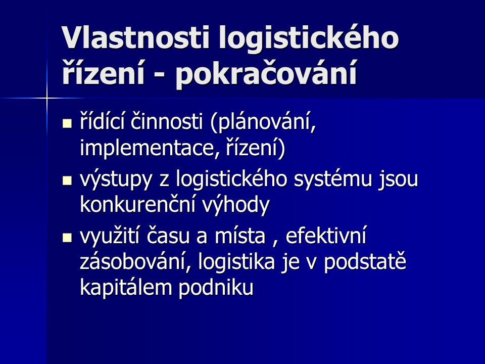 Vlastnosti logistického řízení - pokračování řídící činnosti (plánování, implementace, řízení) řídící činnosti (plánování, implementace, řízení) výstu