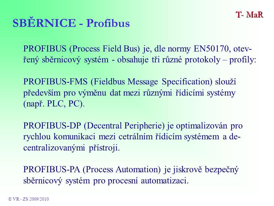 PROFIBUS (Process Field Bus) je, dle normy EN50170, otev- řený sběrnicový systém - obsahuje tři různé protokoly – profily: PROFIBUS-FMS (Fieldbus Message Specification) slouží především pro výměnu dat mezi různými řídicími systémy (např.