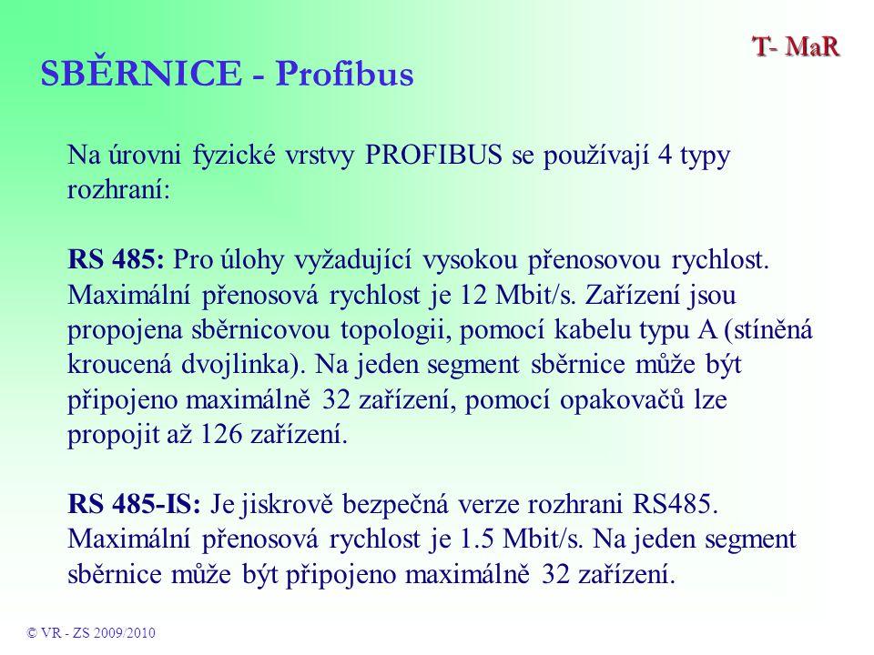 Na úrovni fyzické vrstvy PROFIBUS se používají 4 typy rozhraní: RS 485: Pro úlohy vyžadující vysokou přenosovou rychlost.