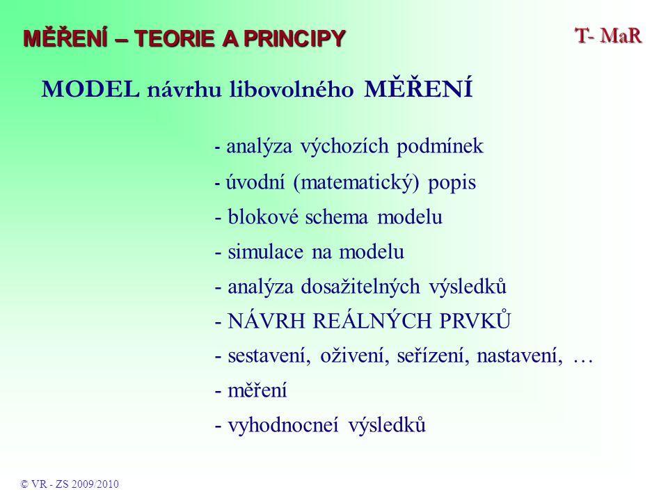 - analýza výchozích podmínek - úvodní (matematický) popis - blokové schema modelu - simulace na modelu - analýza dosažitelných výsledků - NÁVRH REÁLNÝCH PRVKŮ - sestavení, oživení, seřízení, nastavení, … - měření - vyhodnocneí výsledků T- MaR © VR - ZS 2009/2010 MĚŘENÍ – TEORIE A PRINCIPY MODEL návrhu libovolného MĚŘENÍ
