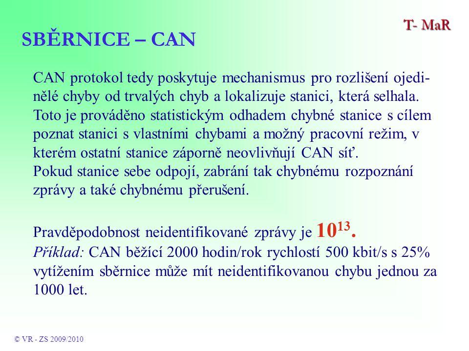 CAN protokol tedy poskytuje mechanismus pro rozlišení ojedi- nělé chyby od trvalých chyb a lokalizuje stanici, která selhala.
