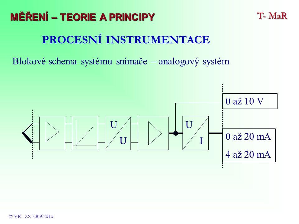 PROCESNÍ INSTRUMENTACE Blokové schema systému snímače – analogový systém U U 0 až 10 V 0 až 20 mA 4 až 20 mA U UI T- MaR © VR - ZS 2009/2010 MĚŘENÍ – TEORIE A PRINCIPY