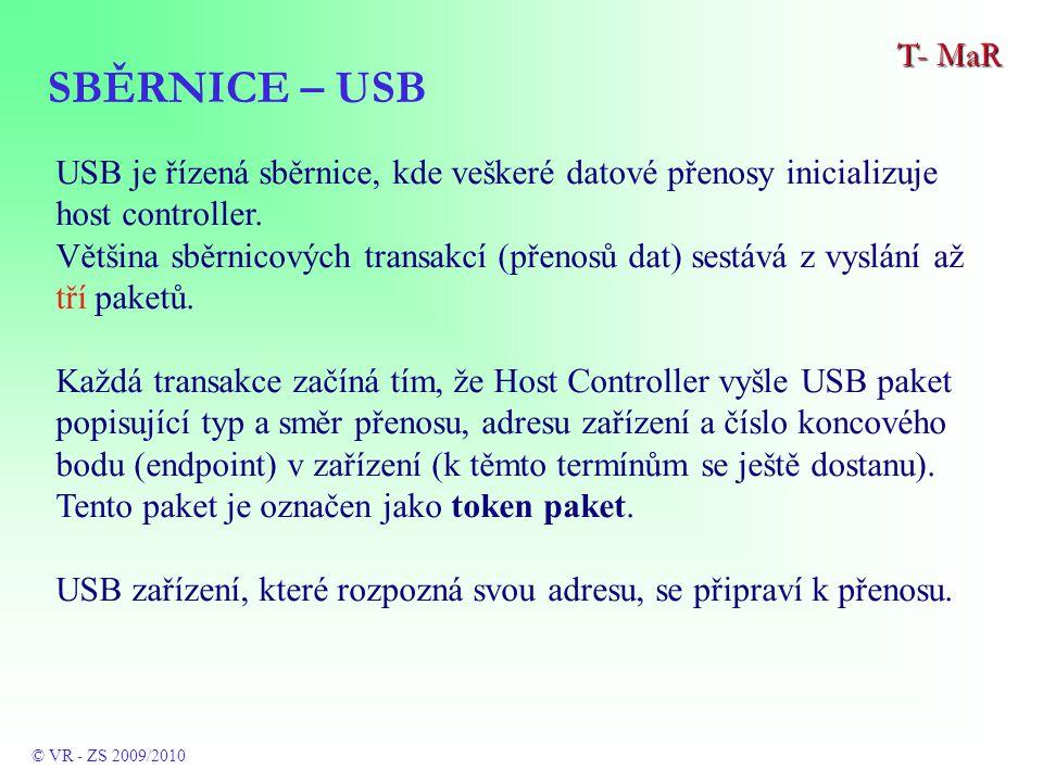 SBĚRNICE – USB T- MaR © VR - ZS 2009/2010 USB je řízená sběrnice, kde veškeré datové přenosy inicializuje host controller.