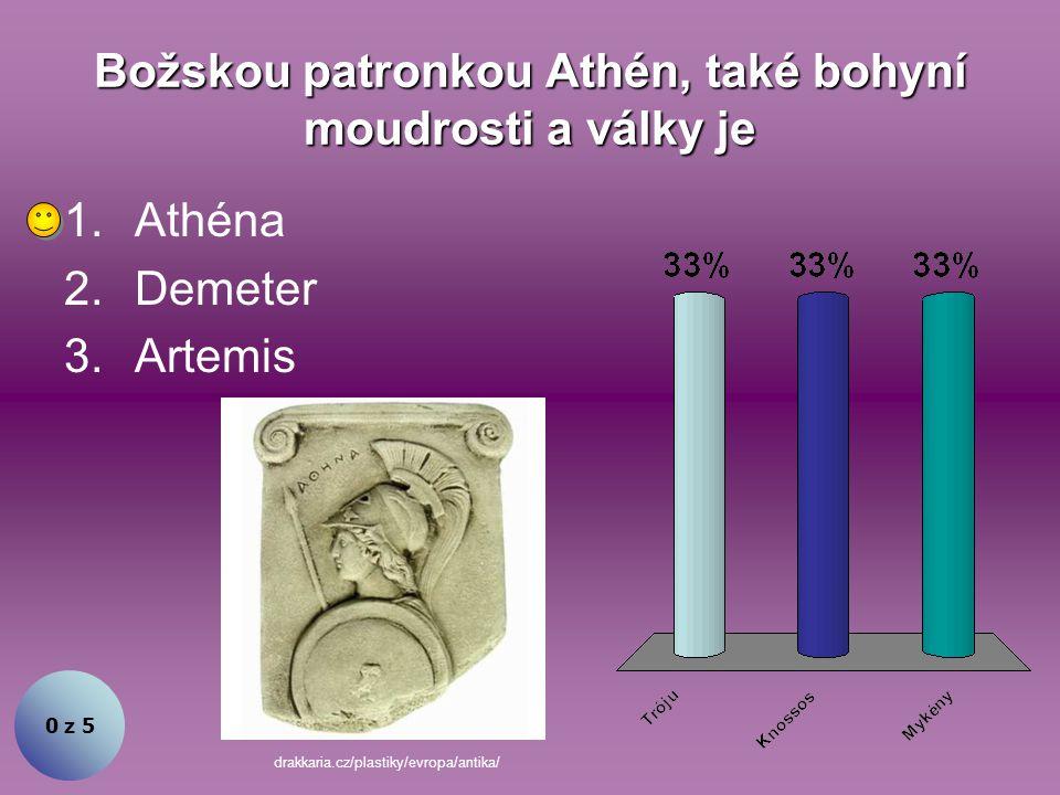 Demeter byla božskou patronkou Athén. Souhlasíte? 1.Ano 2.Ne 0 z 5