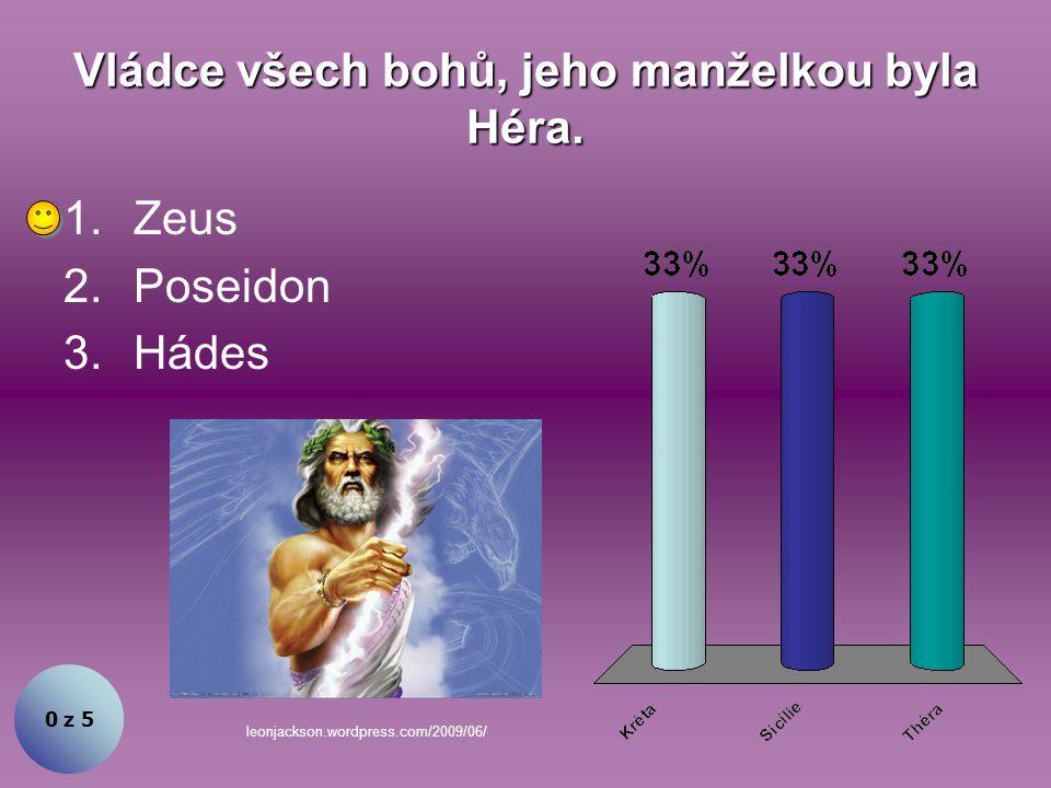 Vládce všech bohů, jeho manželkou byla Héra.