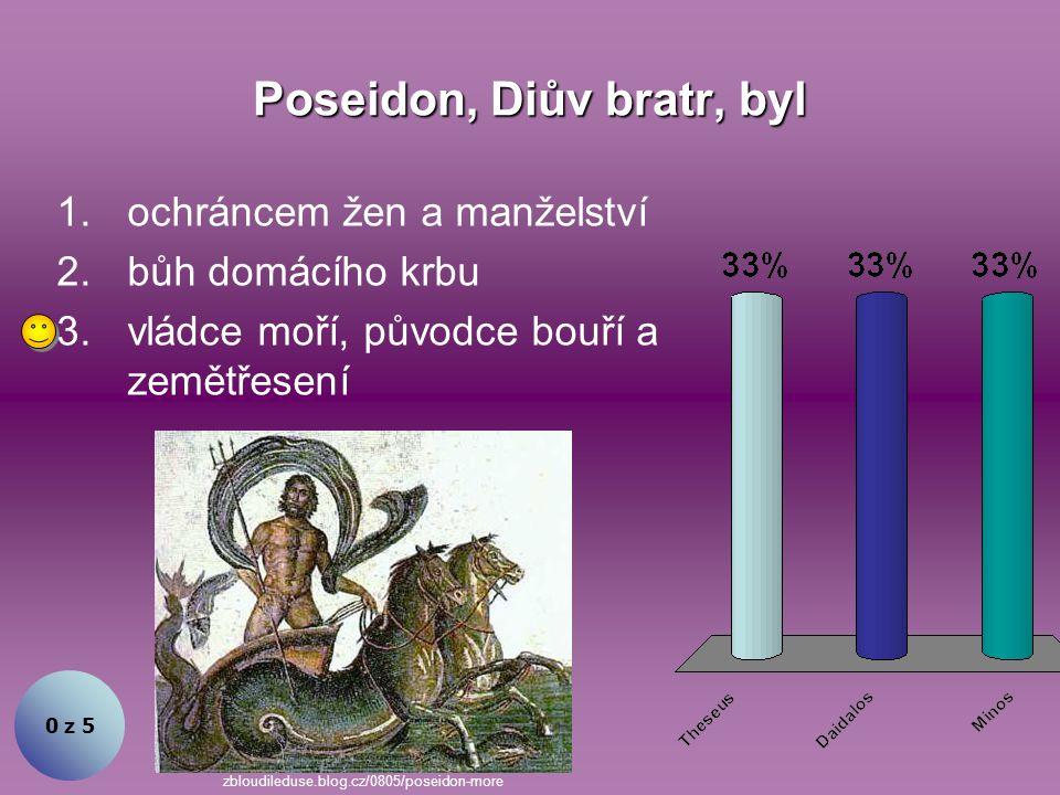 Vládce všech bohů, jeho manželkou byla Héra. 0 z 5 1.Zeus 2.Poseidon 3.Hádes leonjackson.wordpress.com/2009/06/
