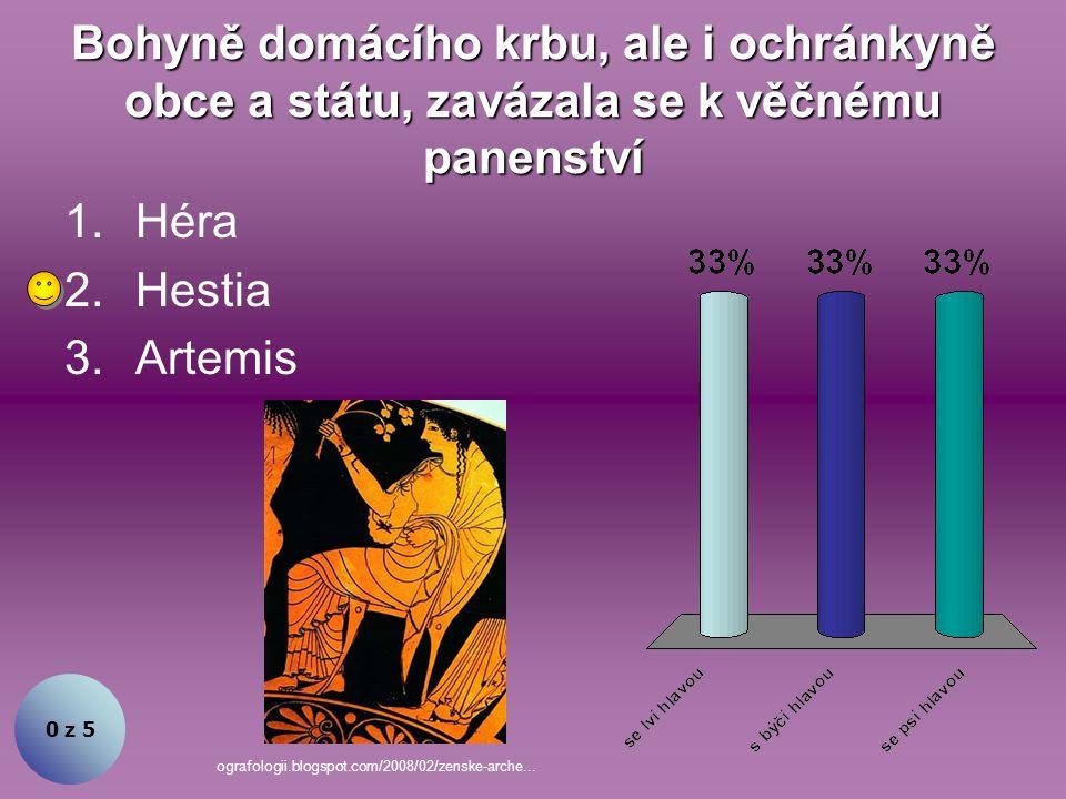 Bohyně domácího krbu, ale i ochránkyně obce a státu, zavázala se k věčnému panenství 0 z 5 1.Héra 2.Hestia 3.Artemis ografologii.blogspot.com/2008/02/zenske-arche...