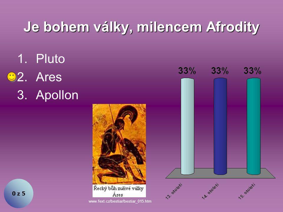 Je bohem války, milencem Afrodity 0 z 5 1.Pluto 2.Ares 3.Apollon www.fext.cz/bestiar/bestiar_015.htm