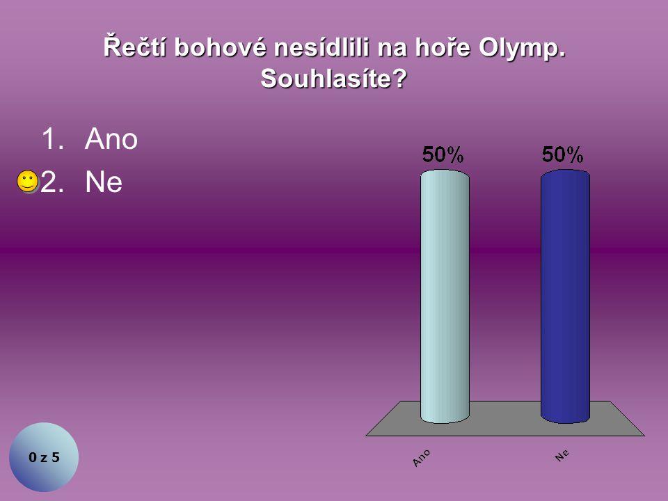 Řečtí bohové nesídlili na hoře Olymp. Souhlasíte? 1.Ano 2.Ne 0 z 5