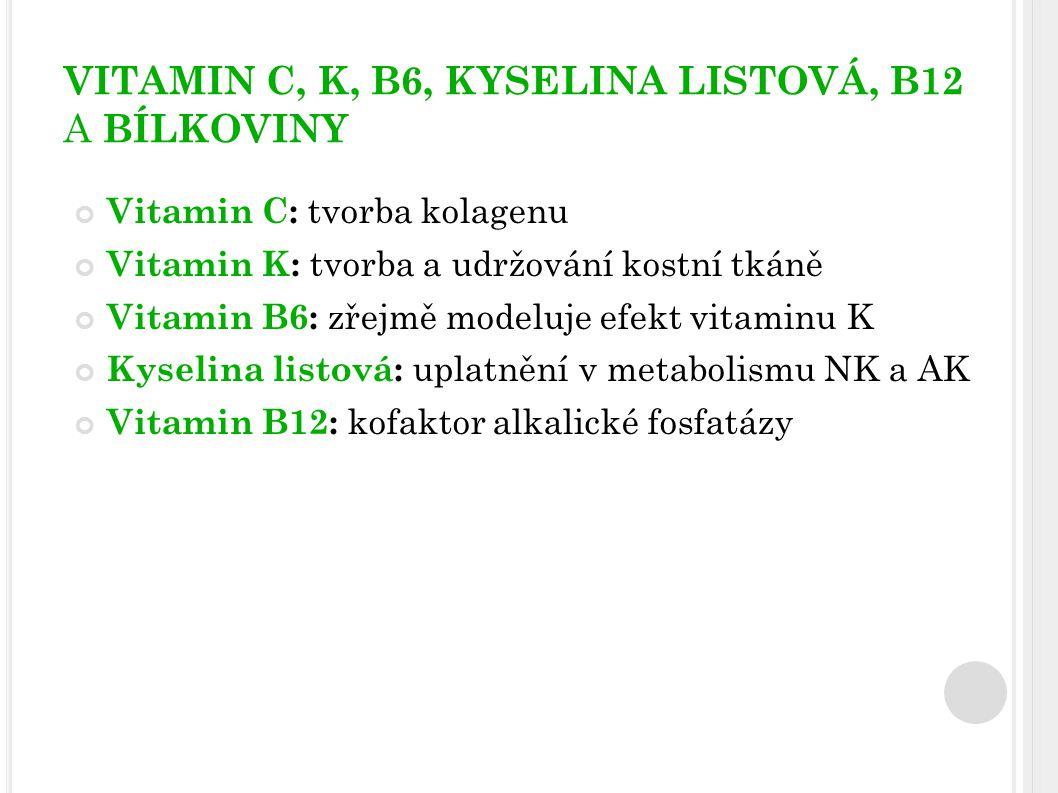 VITAMIN C, K, B6, KYSELINA LISTOVÁ, B12 A BÍLKOVINY Vitamin C: tvorba kolagenu Vitamin K: tvorba a udržování kostní tkáně Vitamin B6: zřejmě modeluje