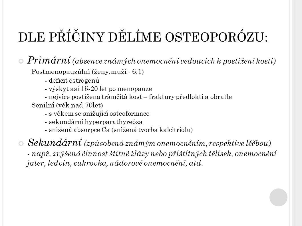 DLE PŘÍČINY DĚLÍME OSTEOPORÓZU: Primární (absence známých onemocnění vedoucích k postižení kosti) Postmenopauzální (ženy:muži - 6:1) - deficit estroge