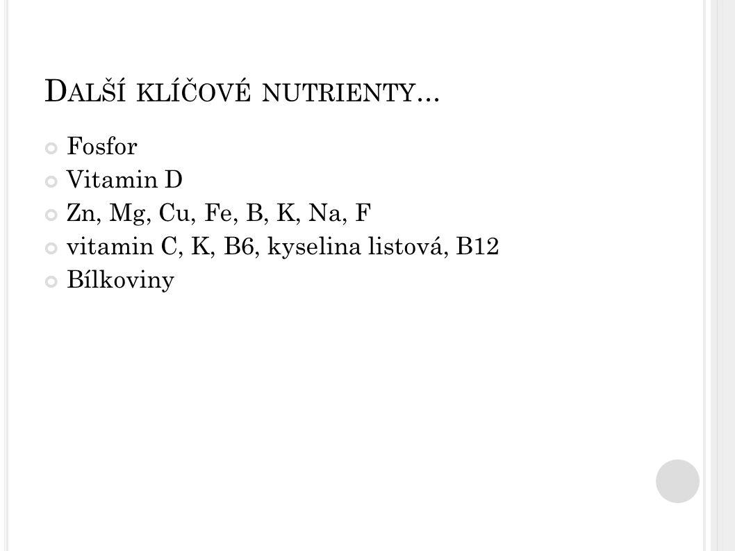 D ALŠÍ KLÍČOVÉ NUTRIENTY... Fosfor Vitamin D Zn, Mg, Cu, Fe, B, K, Na, F vitamin C, K, B6, kyselina listová, B12 Bílkoviny