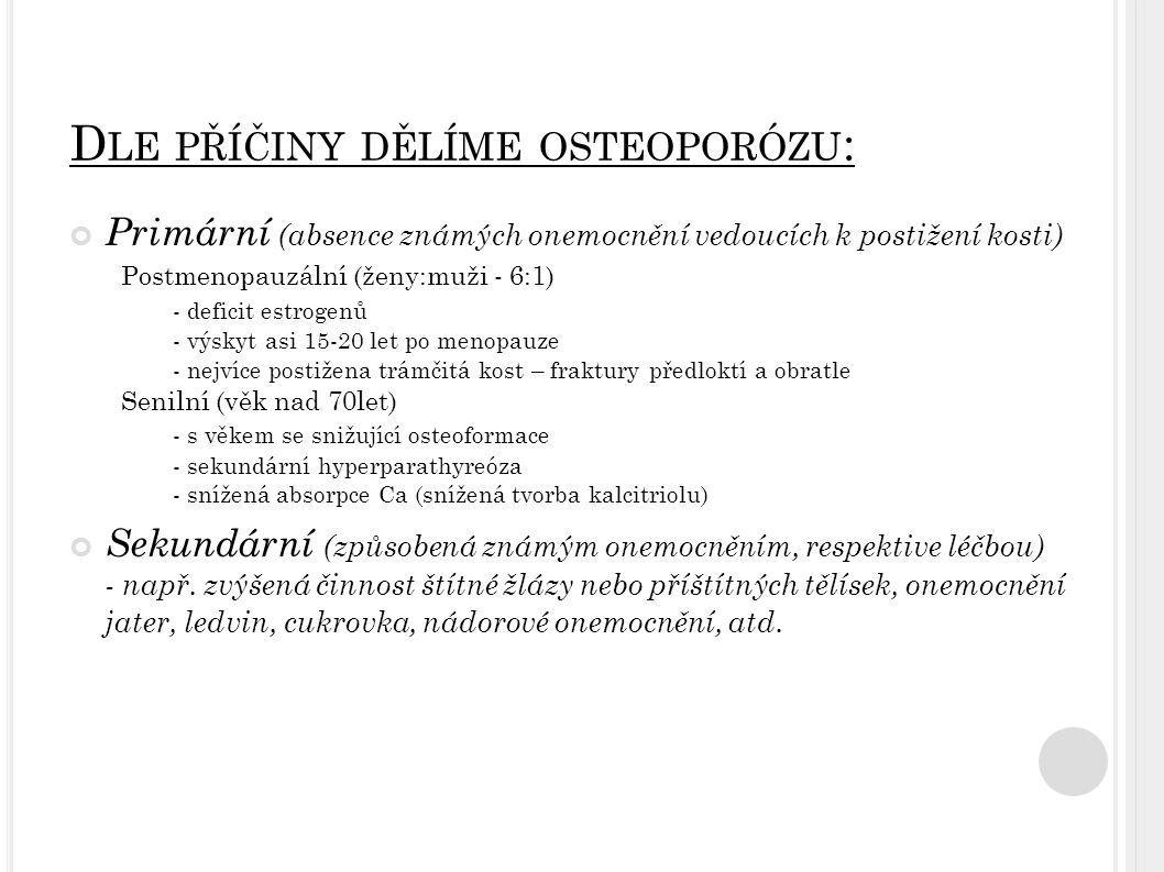 D LE PŘÍČINY DĚLÍME OSTEOPORÓZU : Primární (absence známých onemocnění vedoucích k postižení kosti) Postmenopauzální (ženy:muži - 6:1) - deficit estrogenů - výskyt asi 15-20 let po menopauze - nejvíce postižena trámčitá kost – fraktury předloktí a obratle Senilní (věk nad 70let) - s věkem se snižující osteoformace - sekundární hyperparathyreóza - snížená absorpce Ca (snížená tvorba kalcitriolu) Sekundární (způsobená známým onemocněním, respektive léčbou) - např.