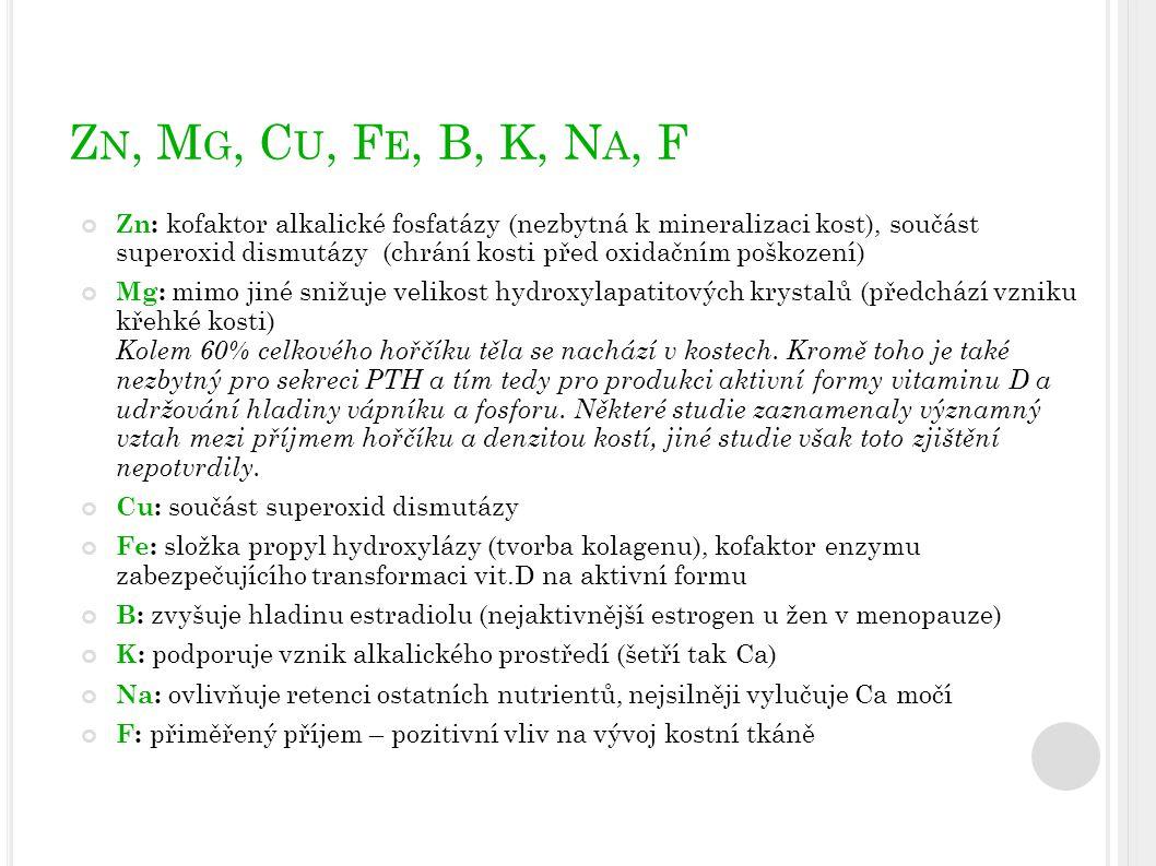 Z N, M G, C U, F E, B, K, N A, F Zn: kofaktor alkalické fosfatázy (nezbytná k mineralizaci kost), součást superoxid dismutázy (chrání kosti před oxida