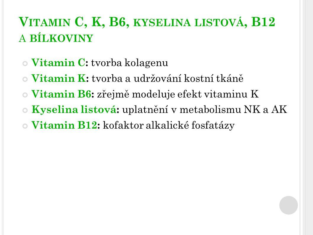 V ITAMIN C, K, B6, KYSELINA LISTOVÁ, B12 A BÍLKOVINY Vitamin C: tvorba kolagenu Vitamin K: tvorba a udržování kostní tkáně Vitamin B6: zřejmě modeluje efekt vitaminu K Kyselina listová: uplatnění v metabolismu NK a AK Vitamin B12: kofaktor alkalické fosfatázy
