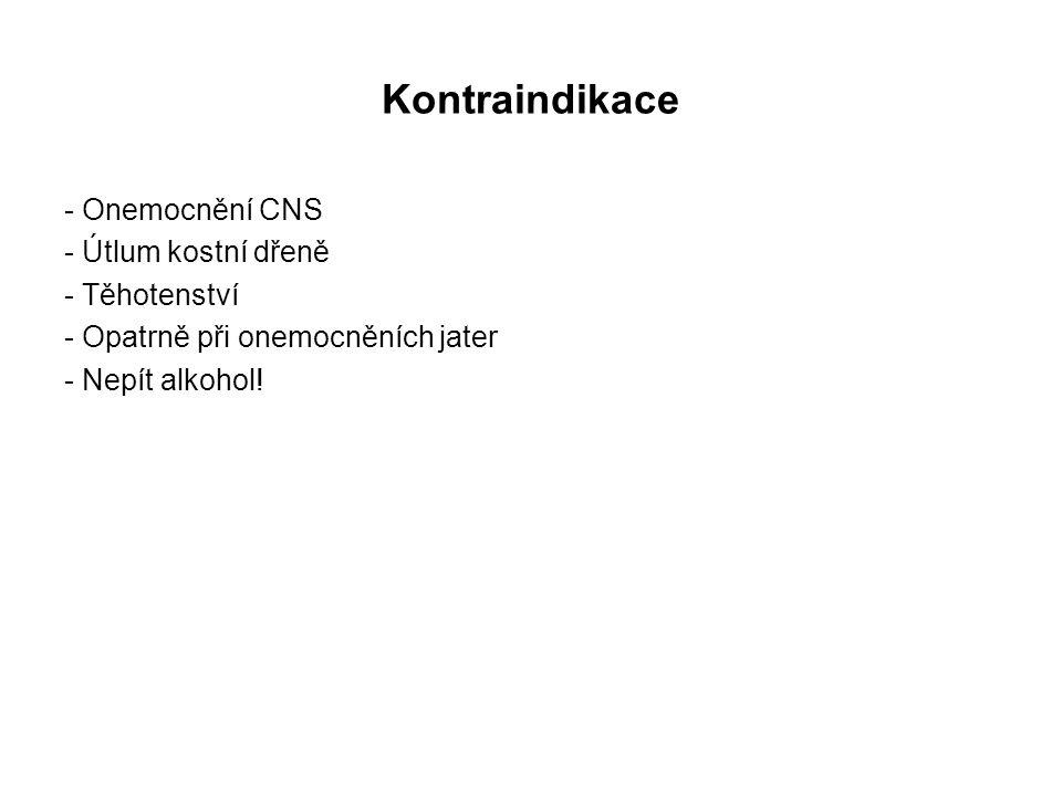 Kontraindikace - Onemocnění CNS - Útlum kostní dřeně - Těhotenství - Opatrně při onemocněních jater - Nepít alkohol!
