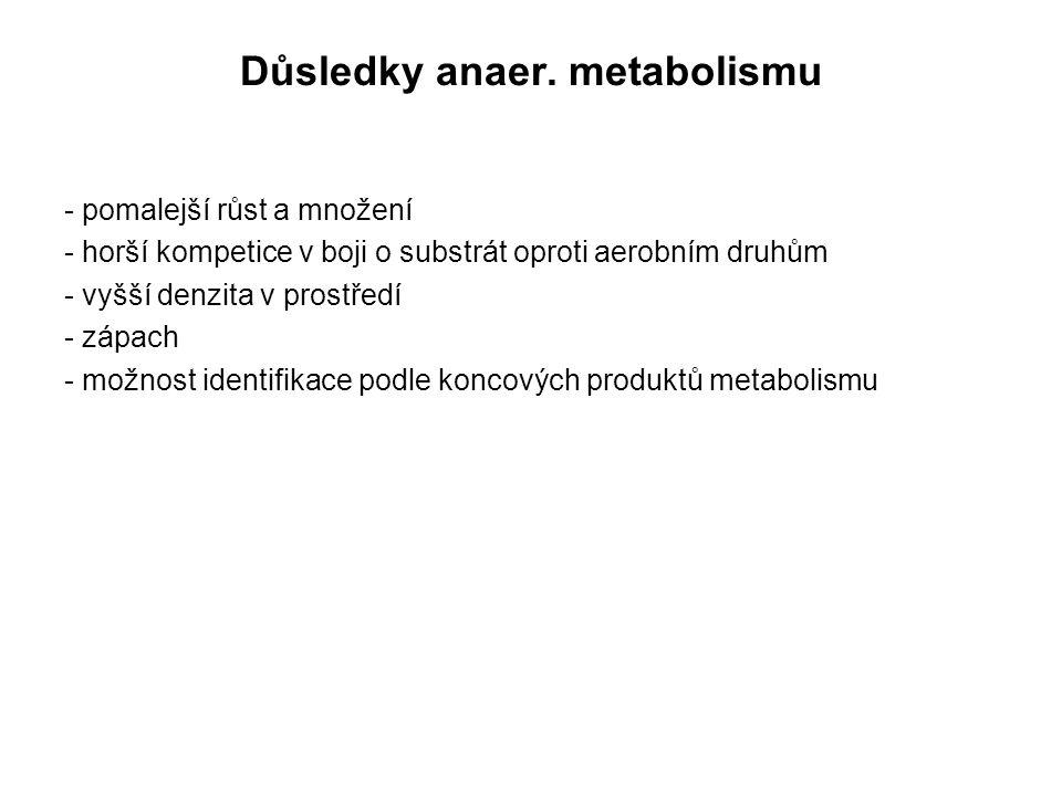 Důsledky anaer. metabolismu - pomalejší růst a množení - horší kompetice v boji o substrát oproti aerobním druhům - vyšší denzita v prostředí - zápach