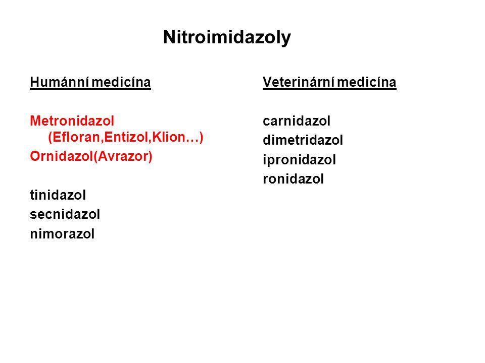 Nitroimidazoly Humánní medicína Metronidazol (Efloran,Entizol,Klion…) Ornidazol(Avrazor) tinidazol secnidazol nimorazol Veterinární medicína carnidazo