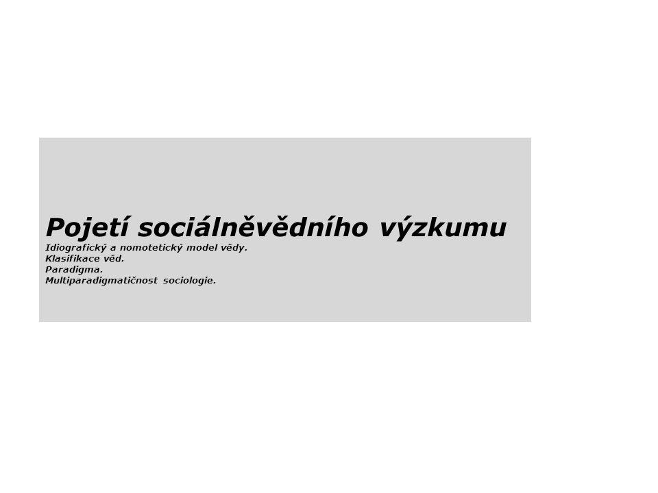 Pojetí sociálněvědního výzkumu Idiografický a nomotetický model vědy.