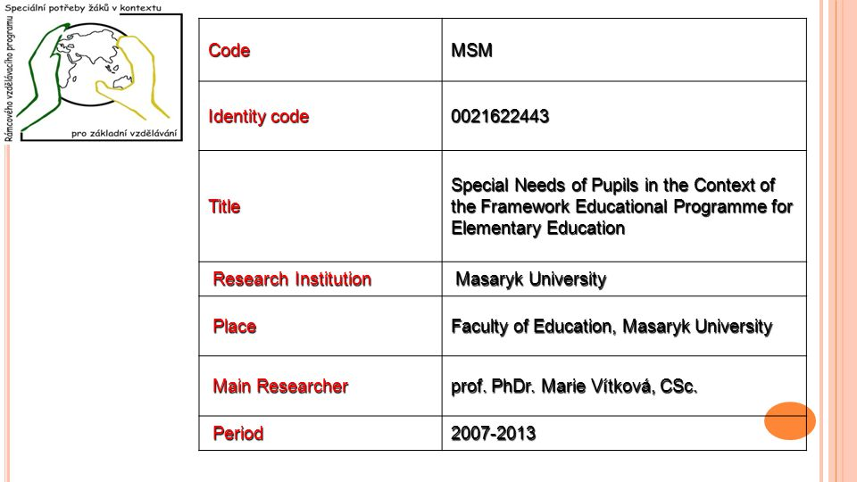 CodeMSM Identity code 0021622443 Title Special Needs of Pupils in the Context of the Framework Educational Programme for Elementary Education Research Institution Research Institution Masaryk University Masaryk University Place Place Faculty of Education, Masaryk University Main Researcher Main Researcher prof.