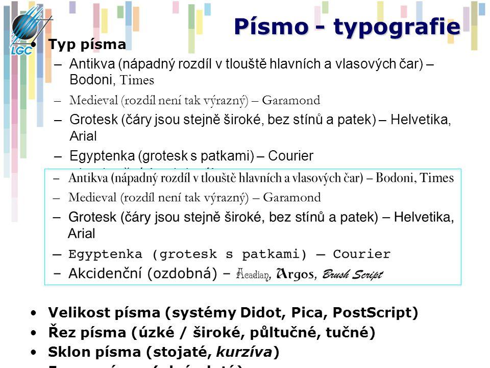 Písmo - typografie Typ písma –Antikva (nápadný rozdíl v tlouště hlavních a vlasových čar) – Bodoni, Times –Medieval (rozdíl není tak výrazný) – Garamo
