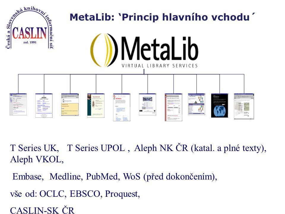 MetaLib: 'Princip hlavního vchodu´ T Series UK,T Series UPOL, Aleph NK ČR (katal.