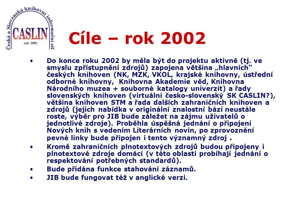 Cíle – rok 2002 Do konce roku 2002 by měla být do projektu aktivně (tj.