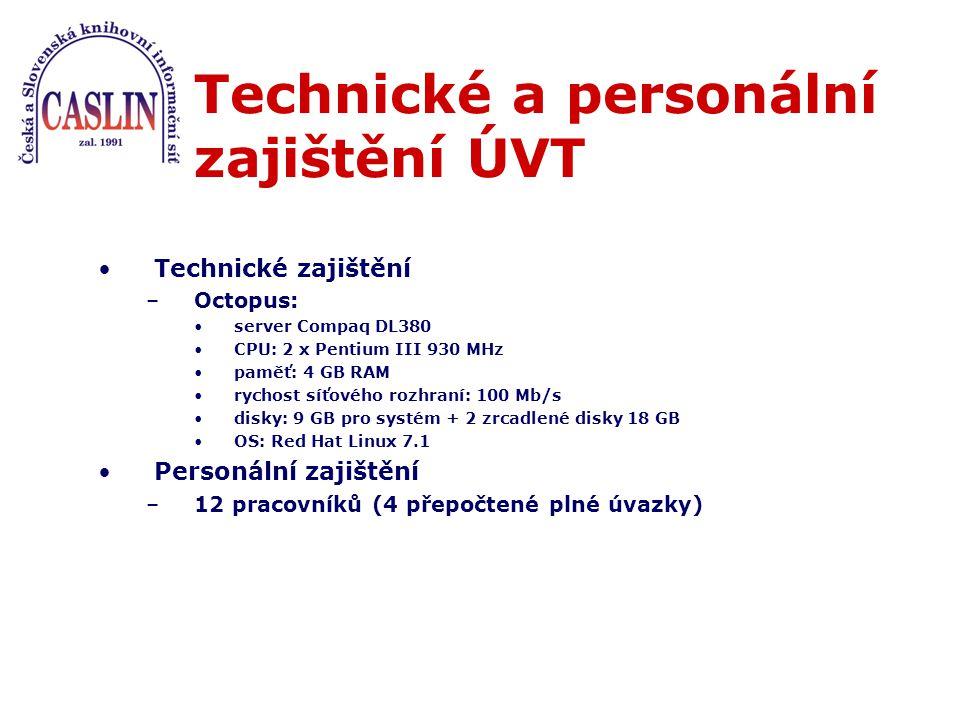 Technické a personální zajištění ÚVT Technické zajištění –Octopus: server Compaq DL380 CPU: 2 x Pentium III 930 MHz paměť: 4 GB RAM rychost síťového rozhraní: 100 Mb/s disky: 9 GB pro systém + 2 zrcadlené disky 18 GB OS: Red Hat Linux 7.1 Personální zajištění –12 pracovníků (4 přepočtené plné úvazky)