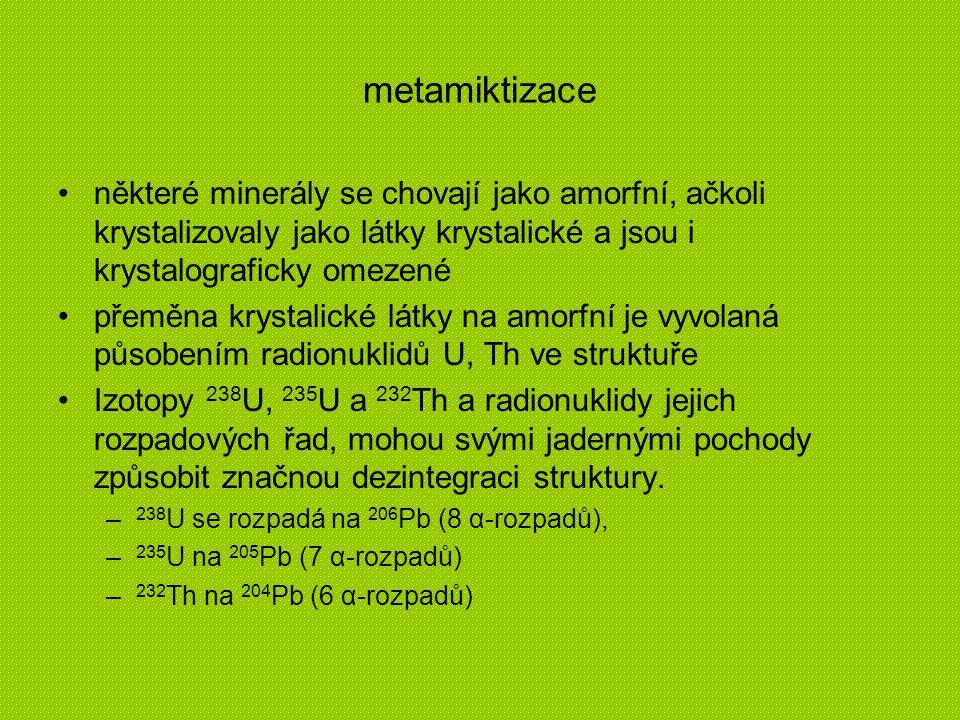 metamiktizace některé minerály se chovají jako amorfní, ačkoli krystalizovaly jako látky krystalické a jsou i krystalograficky omezené přeměna krystal