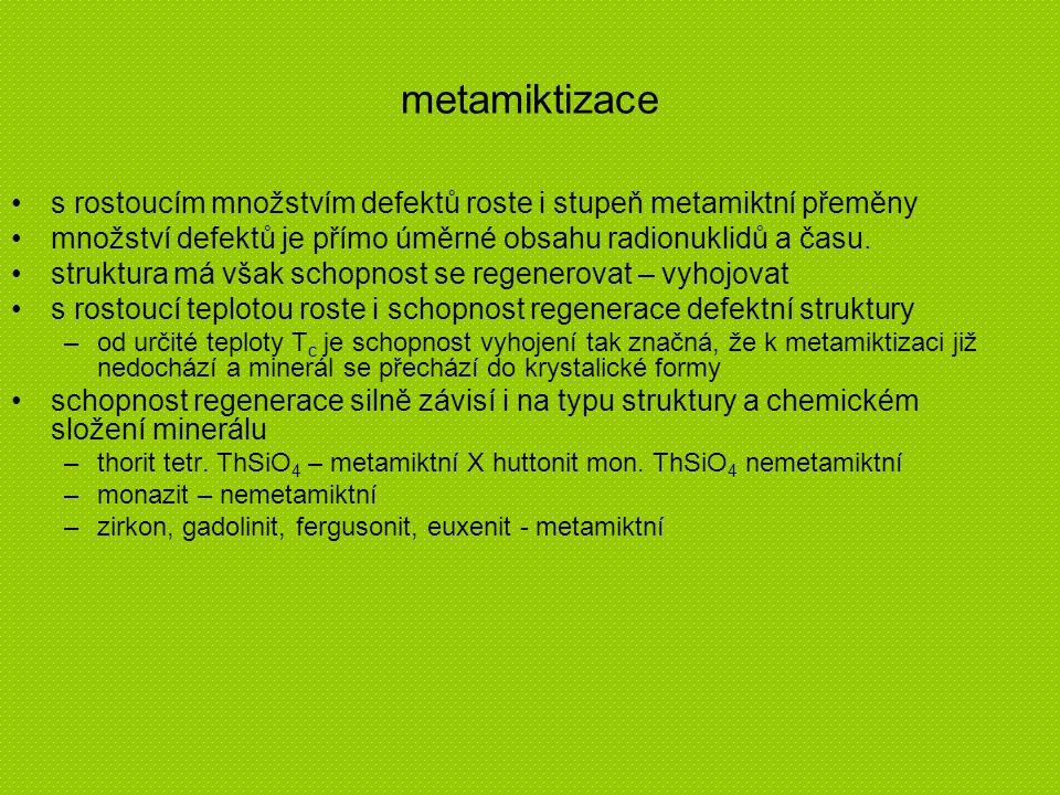 metamiktizace s rostoucím množstvím defektů roste i stupeň metamiktní přeměny množství defektů je přímo úměrné obsahu radionuklidů a času. struktura m